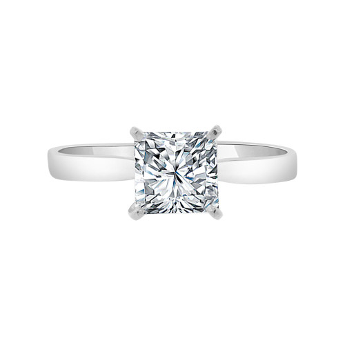 14k White Gold, Solitaire Lady Engagement Wedding Ring Princess Cut Cubic Zirconia 6mm 1.20ct (R099-078)