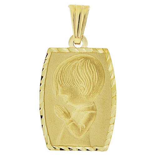 14k Yellow Gold, Praying Boy Communion Confirmation Religious Pendant Medal 14mm (P001-023)
