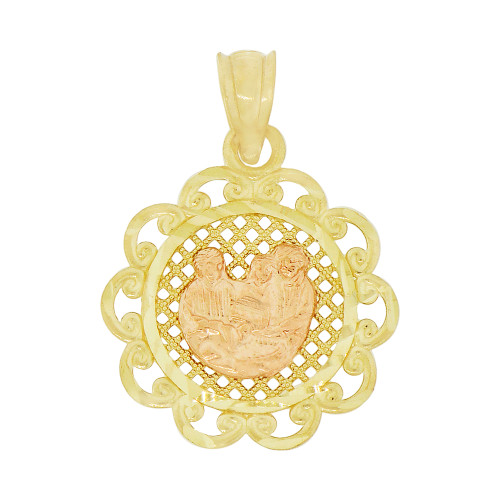 14k Yellow & Rose Gold, Baptism Christening Religious Pendant Filigree Medal 18mm (P001-027)