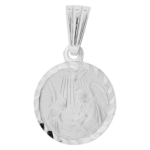 14k Gold White Rhodium, Infant Baptism Christening Pendant Round Medal 12mm (P001-053)