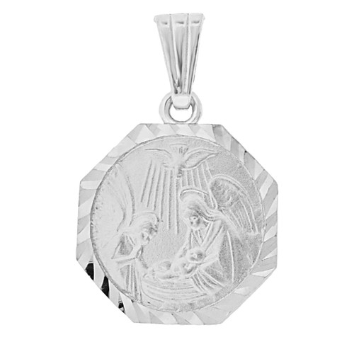 14k Gold White Rhodium, Infant Baptism Christening Religious Pendant Octagon Medal 15mm (P001-058)