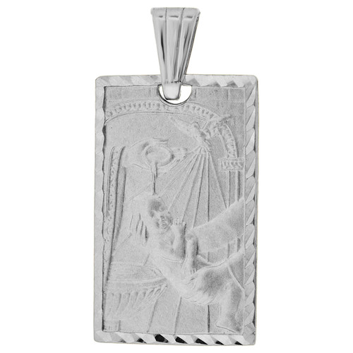 14k Gold White Rhodium, Infant Baptism Christening Religious Pendant Rectangle Medal 13mm (P001-070)