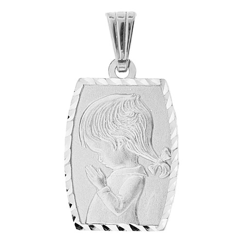 14k Gold White Rhodium, Praying Girl Confirmation Communion Religious Pendant Medal 15mm (P001-074)