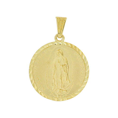 14k Yellow Gold, Virgin Mary Guadalupe Religious Pendant Charm Round Medal 20mm (P002-008)
