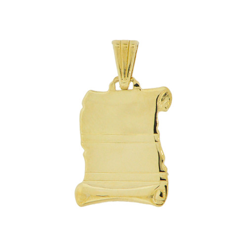 14k Yellow Gold, Plain Polished Scroll Pendant Perfect for Personalized Engraving (P002-011)