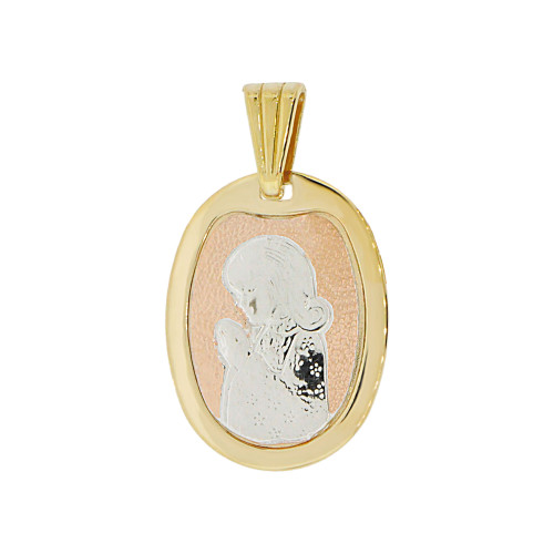 14k Tricolor Gold, Praying Girl Communion Confirmation Religious Pendant Oval Medal 14mm (P002-019)