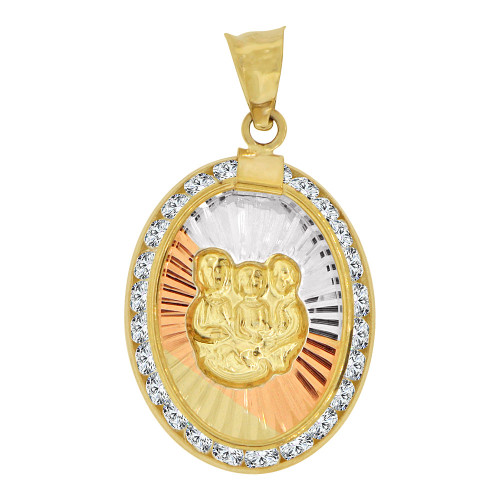 14k Tricolor Gold, Infant Baptism Christening Religious Charm Oval Lab Created CZ Medal (P002-027)