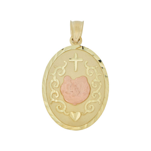 14k Yellow & Rose Gold, Baptism Christening Religious Pendant Oval Medal 18mm (P004-002)