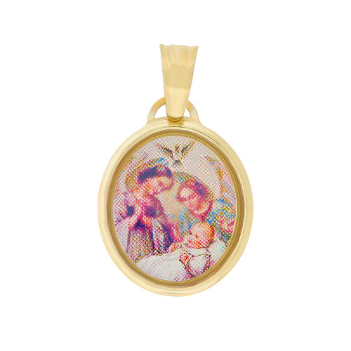 14k Yellow Gold, Baptism Christening Religious Pendant Colorful Enamel Overlay Oval Medal 15mm (P005-006)