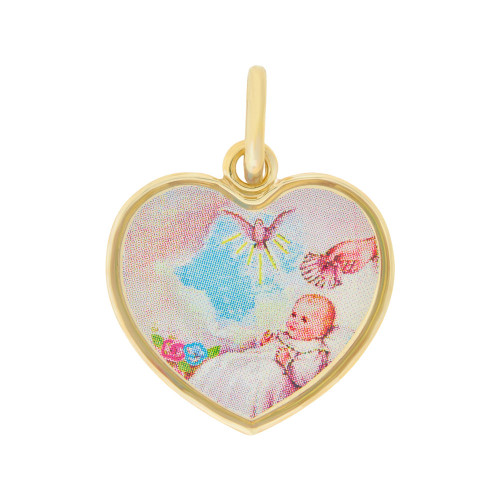 14k Yellow Gold, Baptism Christening Religious Colorful Enamel Overlay Heart Medal 19mm (P005-008)
