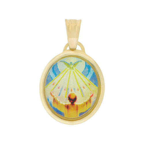 14k Yellow Gold, Holy Spirit Communion Confirmation Pendant Colorful Enamel Oval Medal 15mm (P005-010)