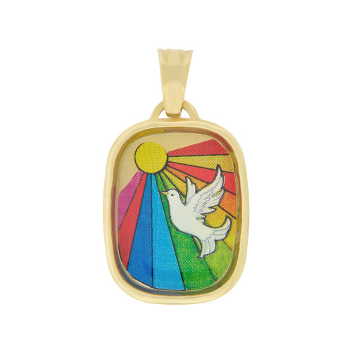 14k Yellow Gold, Holy Spirit Communion Confirmation Pendant Colorful Enamel Medal 15mm (P005-011)