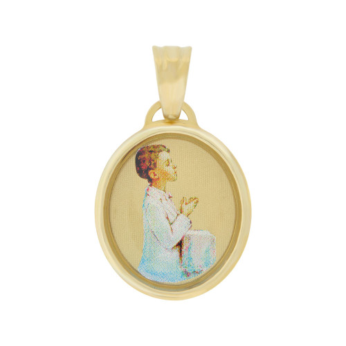 14k Yellow Gold, Boy Praying Communion Confirmation Religious Pendant Enamel Overlay 15mm (P005-018)