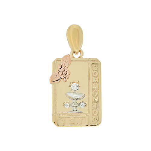 14k Tricolor Gold, First 1st Communion Religious Pendant Charm CZ Rectangular Medal 13mm (P005-021)