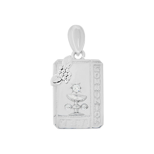14k Gold White Rhodium, First Communion Religious Pendant Created CZ Crystals Rectangular Medal 13mm (P005-071)