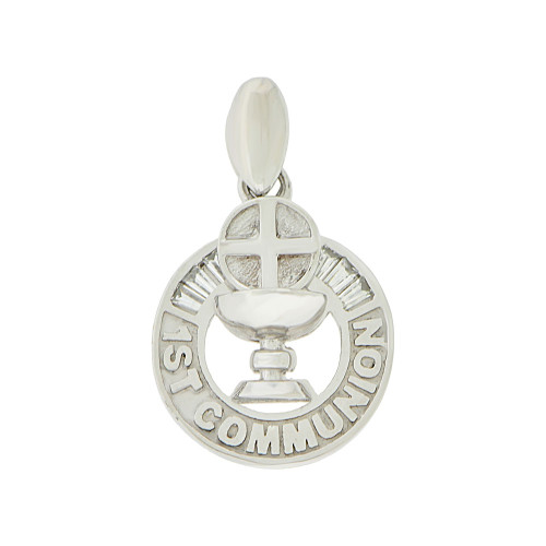 14k Gold White Rhodium, First Communion Religious Pendant Created CZ Crystals Holy Grail Medal 15mm (P005-072)