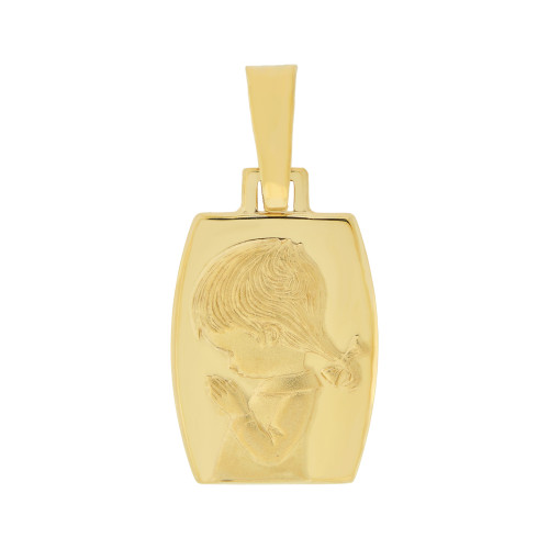 14k Yellow Gold, Praying Girl Religious Pendant Charm Rectangular Medal 14mm (P006-004)