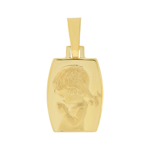 14k Yellow Gold, Praying Girl Religious Pendant Rectangular Medal 15mm (P006-005)