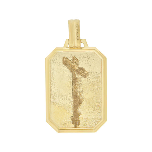 14k Yellow Gold, Jesus Christ Crucifix Laser Image Religious Medal Pendant Light Weight 17mm (P006-015)