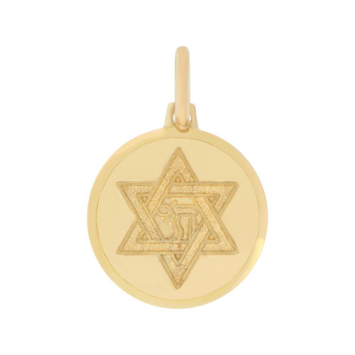 14k Yellow Gold, Small Star of David Chai Medal Pendant Round 15mm (P006-021)