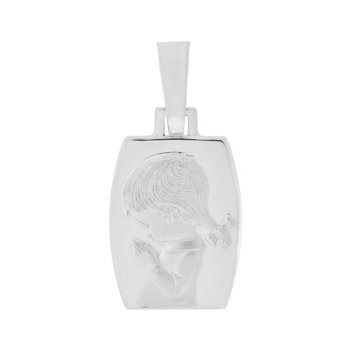 14k White Gold, Praying Girl Religious Pendant Charm Rectangular Medal 14mm (P006-054)