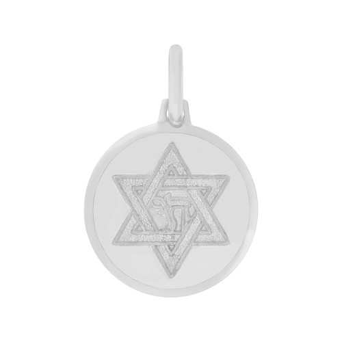 14k Gold White Rhodium, Small Star of David Chai Medal Pendant Round 15mm (P006-071)