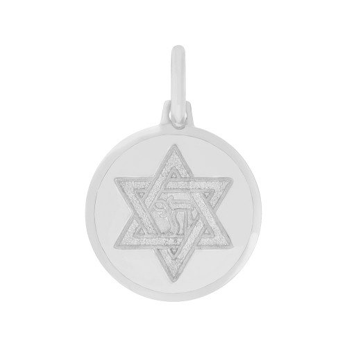 14k Gold White Rhodium, Star of David Chai Medal Pendant Round Medal 18mm (P006-072)