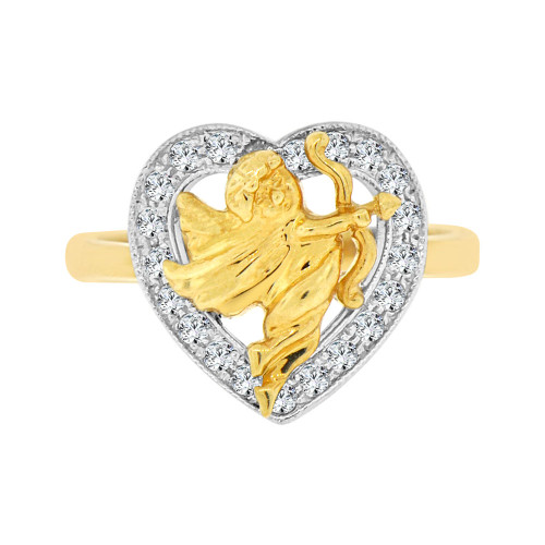 14k Yellow Gold White Rhodium, Lady's Sparkly Heart & Angel Design Cupid Ring Cubic Zirconia (R101-006)