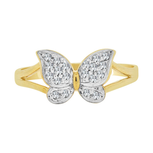 14k Yellow Gold White Rhodium, Small Butterfly Design Ring Cubic Zirconia (R101-009)