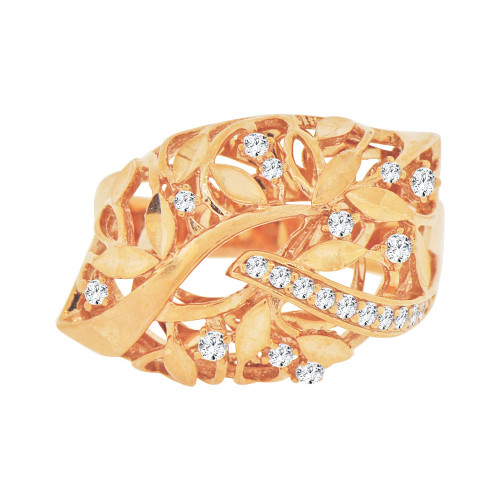 14k Rose Gold, Fancy Abstract Leaf Design Ring Cubic Zirconia (R101-015)