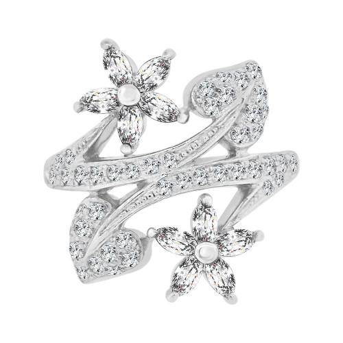 14k White Gold, Lady's Dressy Fancy Hearts & Flowers Design Ring Cubic Zirconia (R101-055)