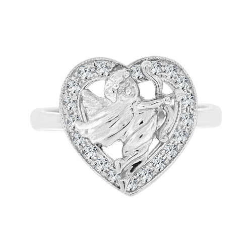 14k White Gold, Lady's Sparkly Heart & Angel Design Cupid Ring Cubic Zirconia (R101-056)