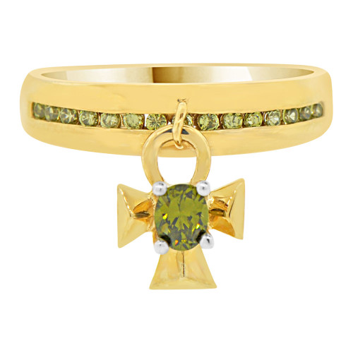 14k Yellow Gold, Dangling Cross Charm Ring Light Green Cubic Zirconia (R102-010)