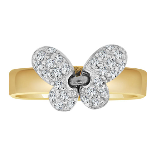 14k Yellow Gold, Modern Abstract Butterfly Design Ring Cubic Zirconia (R102-014)