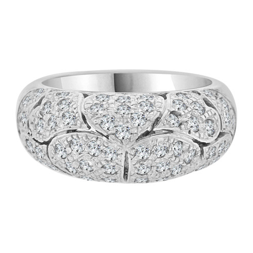 14k White Gold, Vintage Estate Style Hearts Band Cubic Zirconia (R102-054)
