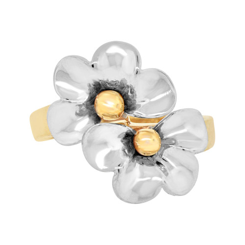 14k Yellow and White Gold, Hawaiian Double Plumeria Flower Ring (R103-004)