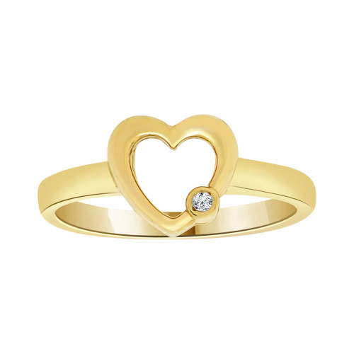 14k Yellow Gold, Simple Heart Design Ring Cubic Zirconia (R103-005)