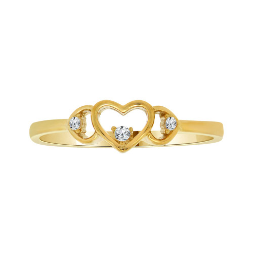 14k Yellow Gold, Simple Heart Design Ring Cubic Zirconia (R103-007)