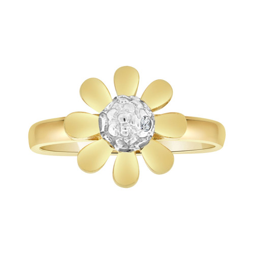 14k Yellow Gold, Modern Flower Design Ring Brilliant Cubic Zirconia (R103-012)