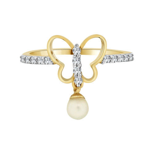 14k Yellow Gold, Butterfly Design Faux Pearl and Cubic Zirconia. (R103-029)