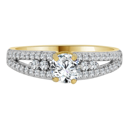 14k Yellow Gold White Rhodium, Dainty Micro Pave Engagement Ring Round Cubic Zirconia 0.75ct (R103-035)
