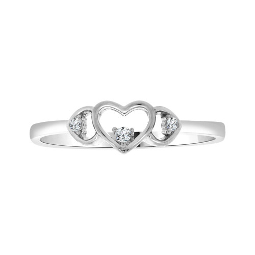 14k White Gold, Simple Heart Design Ring Cubic Zirconia (R103-057)