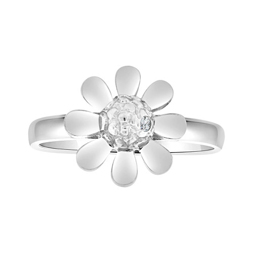 14k White Gold, Modern Flower Design Ring Brilliant Cubic Zirconia (R103-062)