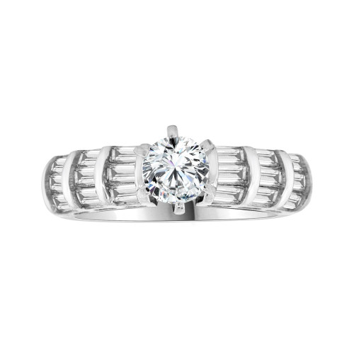 14k White Gold, Modern Design Engagement Anniversary Ring Cubic Zirconia Round 1.0ct (R103-075)