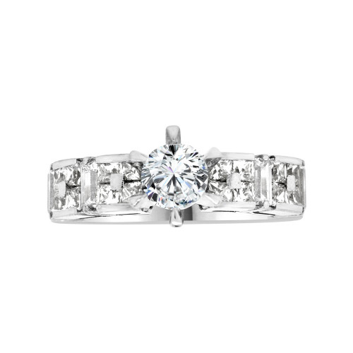 14k White Gold, Modern Design Engagement Anniversary Ring Cubic Zirconia Round 1.0ct (R103-076)