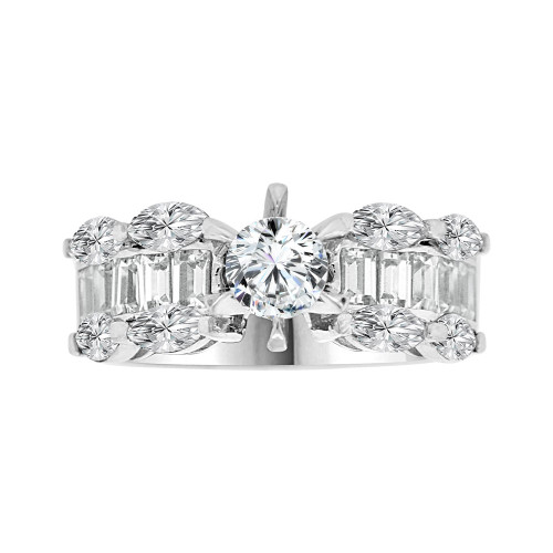 14k White Gold, Modern Design Engagement Anniversary Ring Cubic Zirconia Round 1.0ct (R103-078)