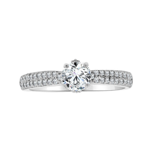 14k White Gold, Dainty Micro Pave Set Engagement Ring Round Cubic Zirconia 0.50ct (R103-080)