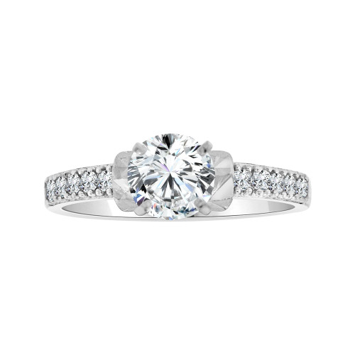 14k White Gold, Dainty Micro Pave Engagement Ring Round Cubic Zirconia 0.75ct (R103-083)