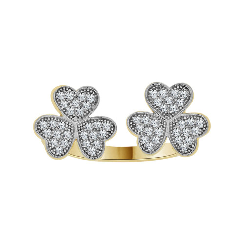 14k Yellow Gold White Rhodium, Fancy Heart Clover Design Ring Brilliant Cubic Zirconia (R104-013)