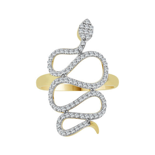 14k Yellow Gold White Rhodium, Fancy Dainty Snake Design Ring Cubic Zirconia (R104-016)